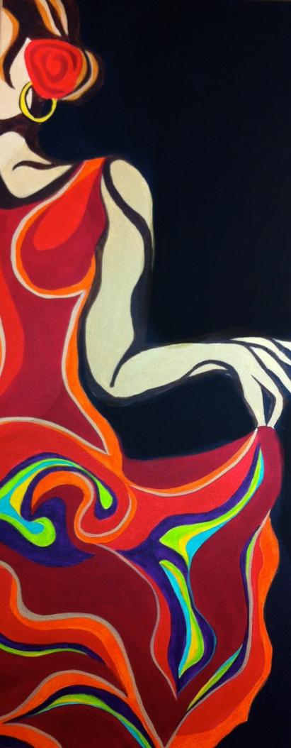 """Flamenco II   18"""" X 40""""   $500"""