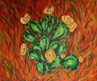 "Prickly Pear & PIne Needles | 30"" X 36"" 