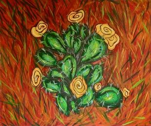 "Prickly Pear & PIne Needles | 30"" X 36"" | $400"