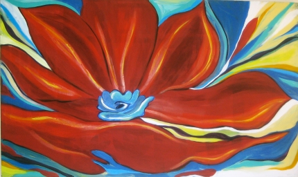 """Red Lily   36"""" X 60""""   $1300"""